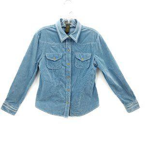 Anthro Fei Blue Western Corduroy Snap Up Shirt